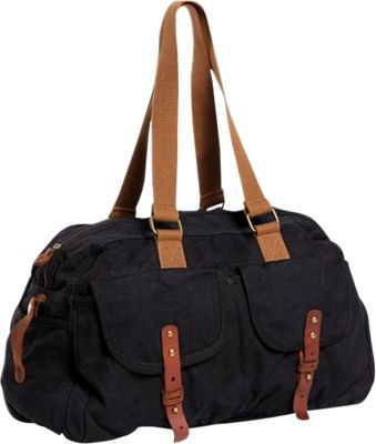 Vagabond Traveler Medium Travel Canvas Bag Black - Vagabond Traveler Travel Duffels