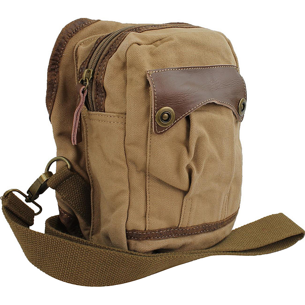 Vagabond Traveler Small Canvas Satchel Shoulder Bag Khaki - Vagabond Traveler Other Mens Bags - Work Bags & Briefcases, Other Men's Bags
