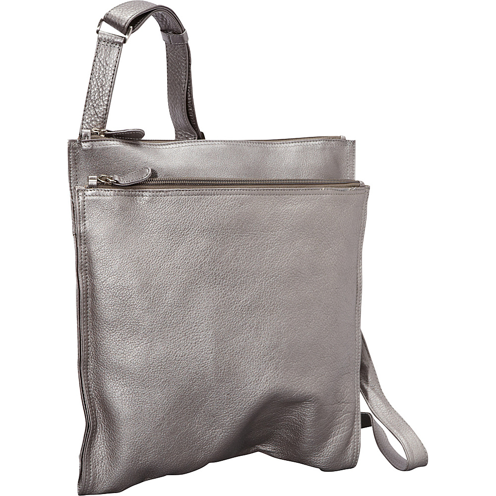 Derek Alexander NS Super Slim w/ Double Top Zip Shoulder Bag Silver - Derek Alexander Leather Handbags - Handbags, Leather Handbags