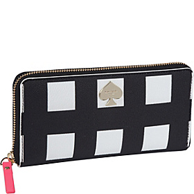 Checker Place Lacey Zip Around Wallet Black