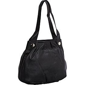 Leather Pleated Shopper Tote BLACK