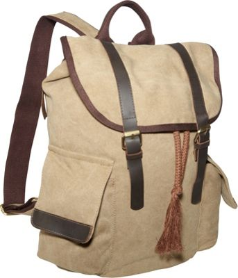 Laurex Vintage Canvas Backpack Khaki - Laurex Everyday Backpacks