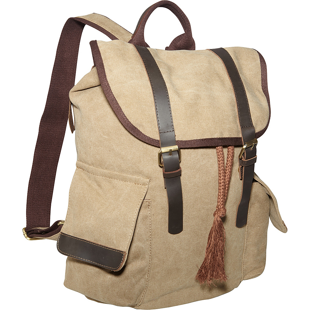 Laurex Vintage Canvas Backpack Khaki Laurex Everyday Backpacks