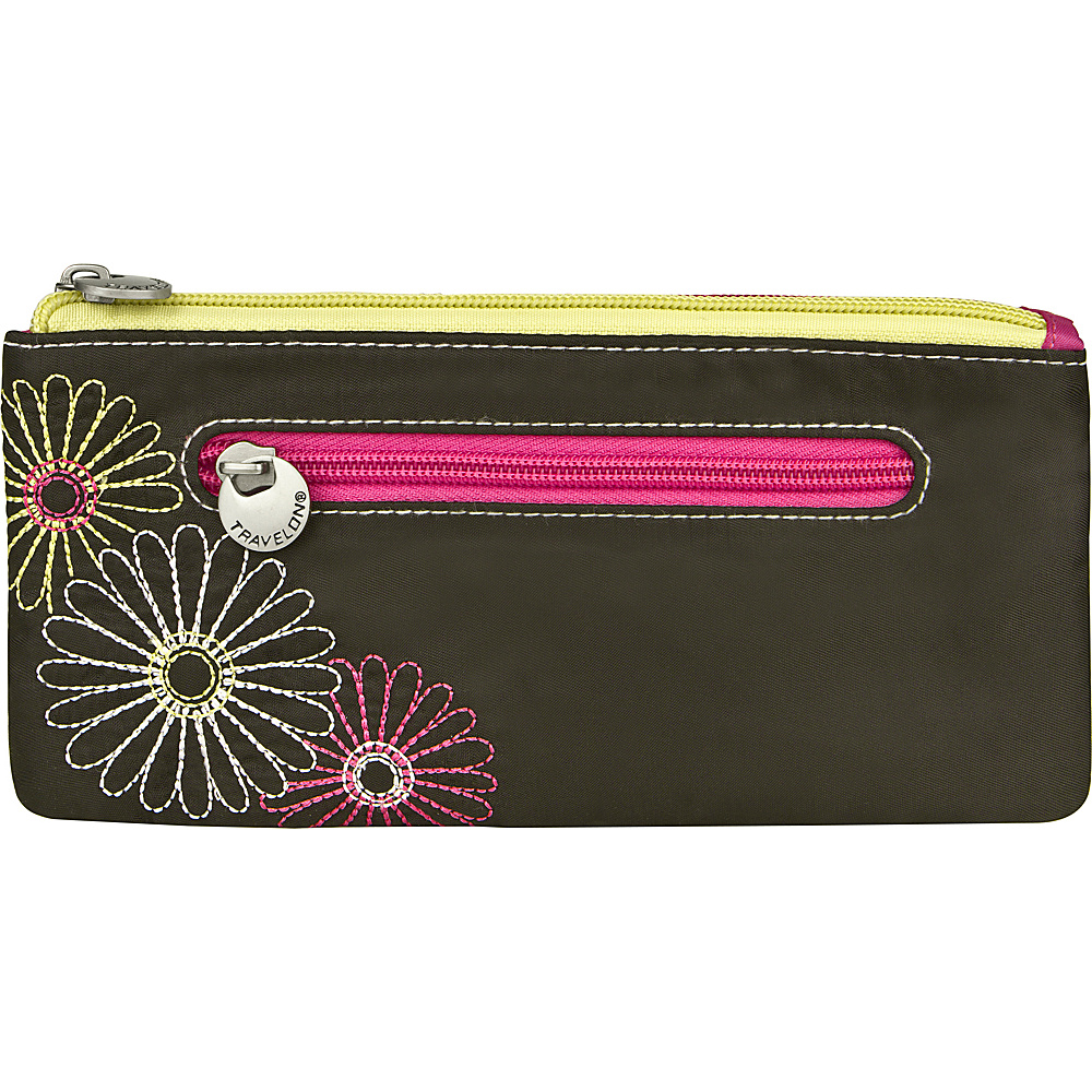 Travelon Safe ID Daisy Double Zip Clutch Wallet Black - Travelon Ladies Clutch Wallets