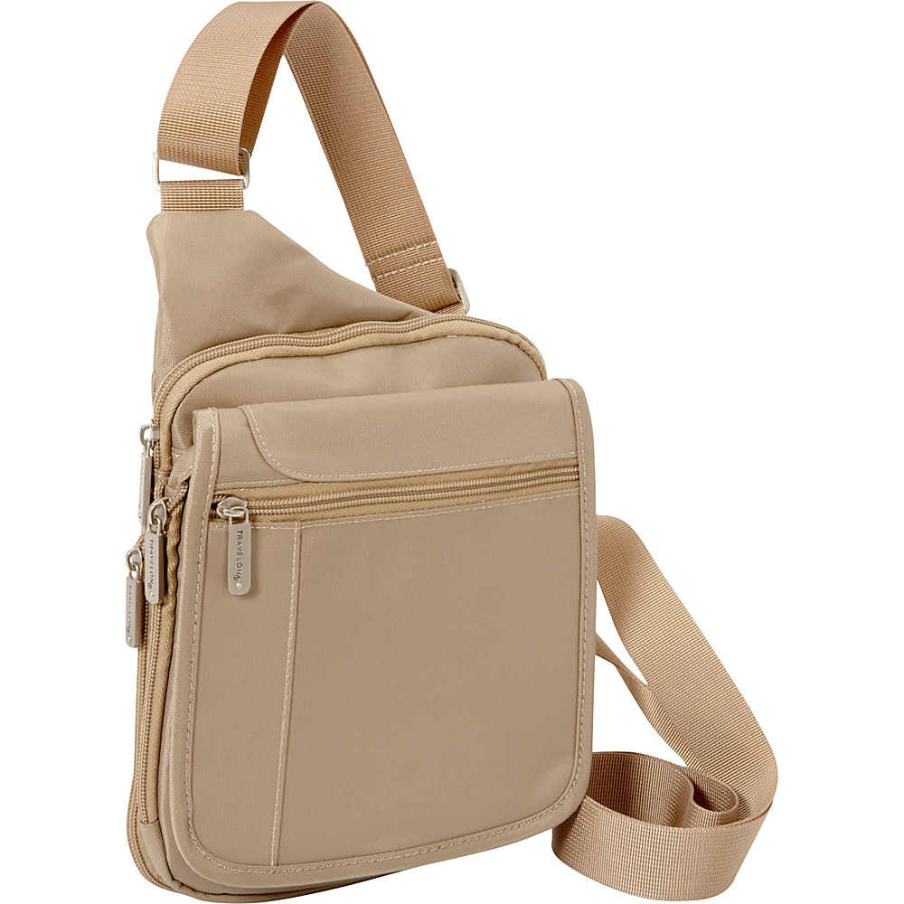 Travelon RFID Sling Messenger Bag - Exclusive Sand - Travelon Fabric Handbags