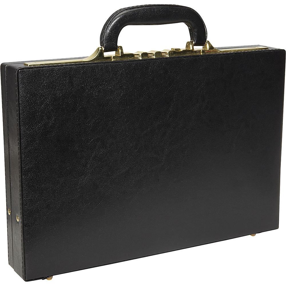 AmeriLeather Slim Executive Faux Leather Attache Case Black - AmeriLeather Non-Wheeled Business Cases