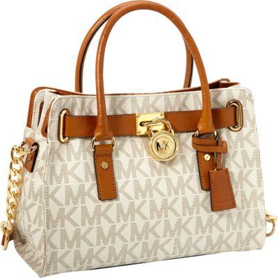 MICHAEL Michael Kors Signature Hamilton E/W Satchel Handbag Vanilla - MICHAEL Michael Kors Designer Handbags
