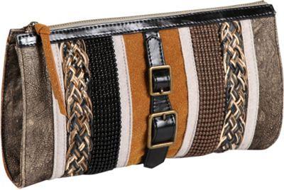 Nicole Lee Taylor Multi-Texture Works Clutch Khaki - Nicole Lee Manmade Handbags