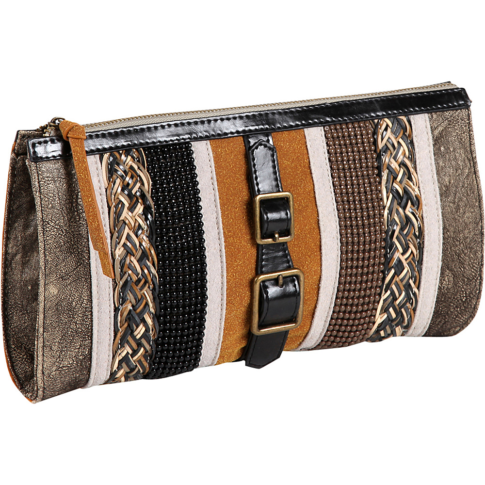 Nicole Lee Taylor Multi Texture Works Clutch Khaki Nicole Lee Manmade Handbags