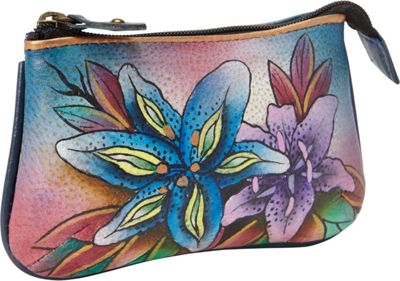 Anuschka Medium Coin Purse Luscious Lilies Denim - Anuschka Women's Wallets