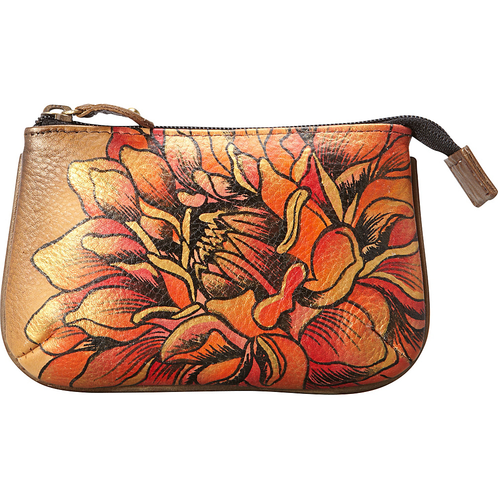 Anuschka Medium Coin Purse Dreamy Dahlias Bronze - Anuschka Women's Wallets