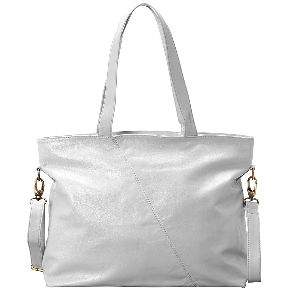 Latico Leathers Flynn Tote Metallic White - Latico Leathers Leather Handbags - Handbags, Leather Handbags