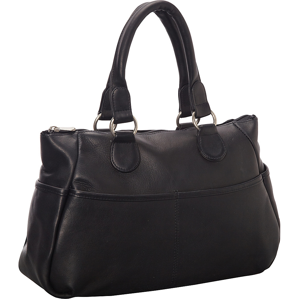 Le Donne Leather Slip Pocket Satchel Black - Le Donne Leather Leather Handbags - Handbags, Leather Handbags