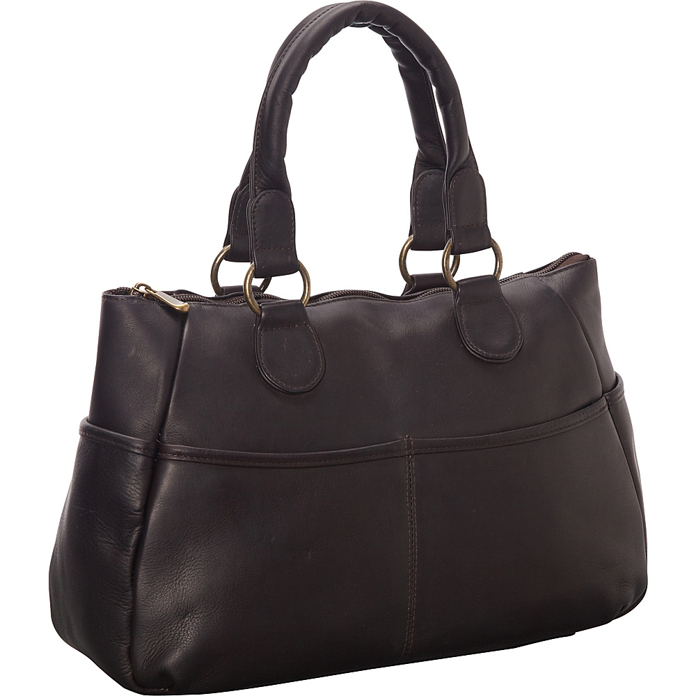 Le Donne Leather Slip Pocket Satchel Cafe - Le Donne Leather Leather Handbags - Handbags, Leather Handbags