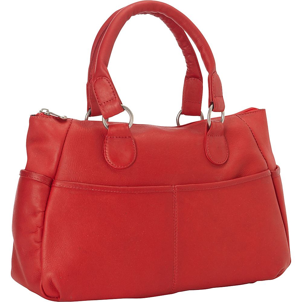 Le Donne Leather Slip Pocket Satchel Red - Le Donne Leather Leather Handbags - Handbags, Leather Handbags