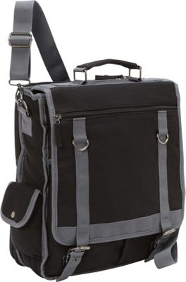 Bellino Expresso Vertical Laptop Canvas Brief - Checkpoint Friendly Black - Bellino Non-Wheeled Business Cases
