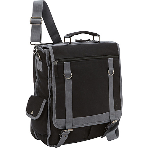 Bellino Expresso Vertical Laptop Canvas Brief - Checkpoint Friendly Black - Bellino Non-Wheeled Computer Cases