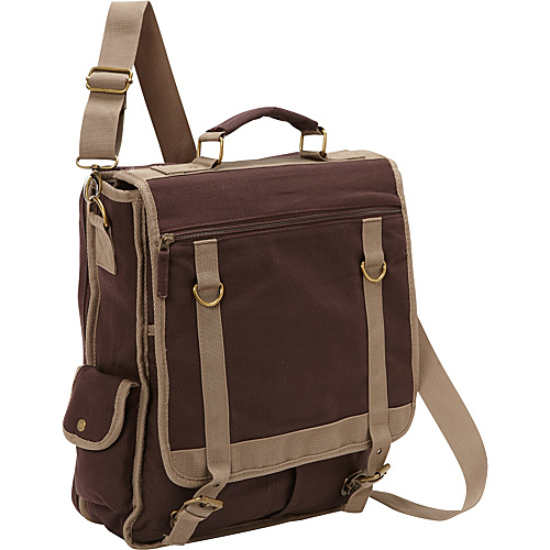 Bellino Expresso Vertical Laptop Canvas Brief - Checkpoint Friendly Brown - Bellino Non-Wheeled Computer Cases