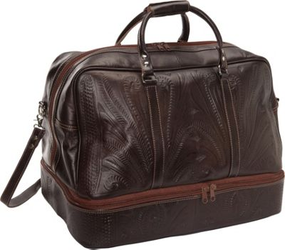 Ropin West 23 inch Leather Weekender Brown - Ropin West Luggage Totes and Satchels