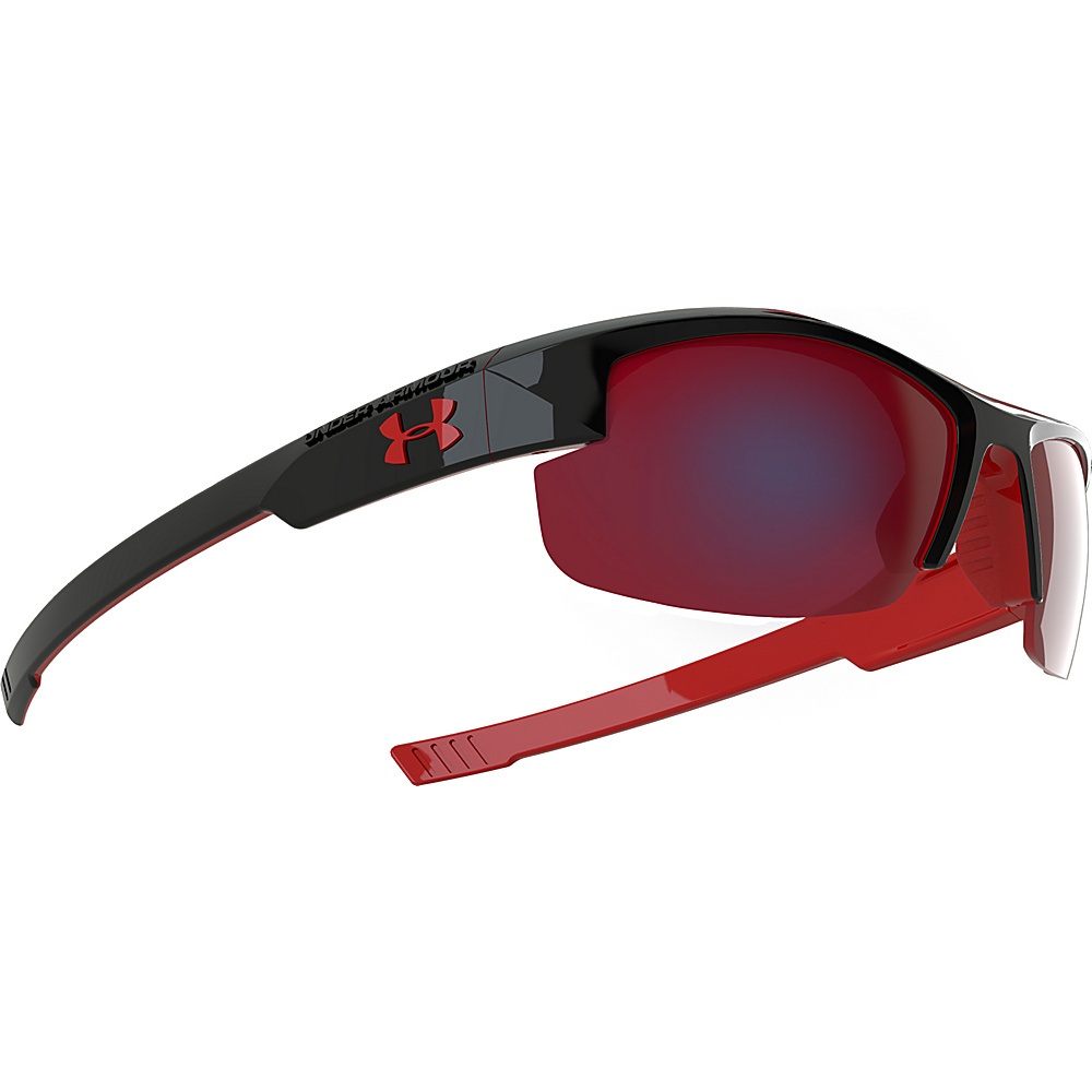 Under Armour Eyewear Youth Nitro L Sunglasses Shiny Black Exterior Red Interior w Red Rubber Under Armour Eyewear Sunglasses