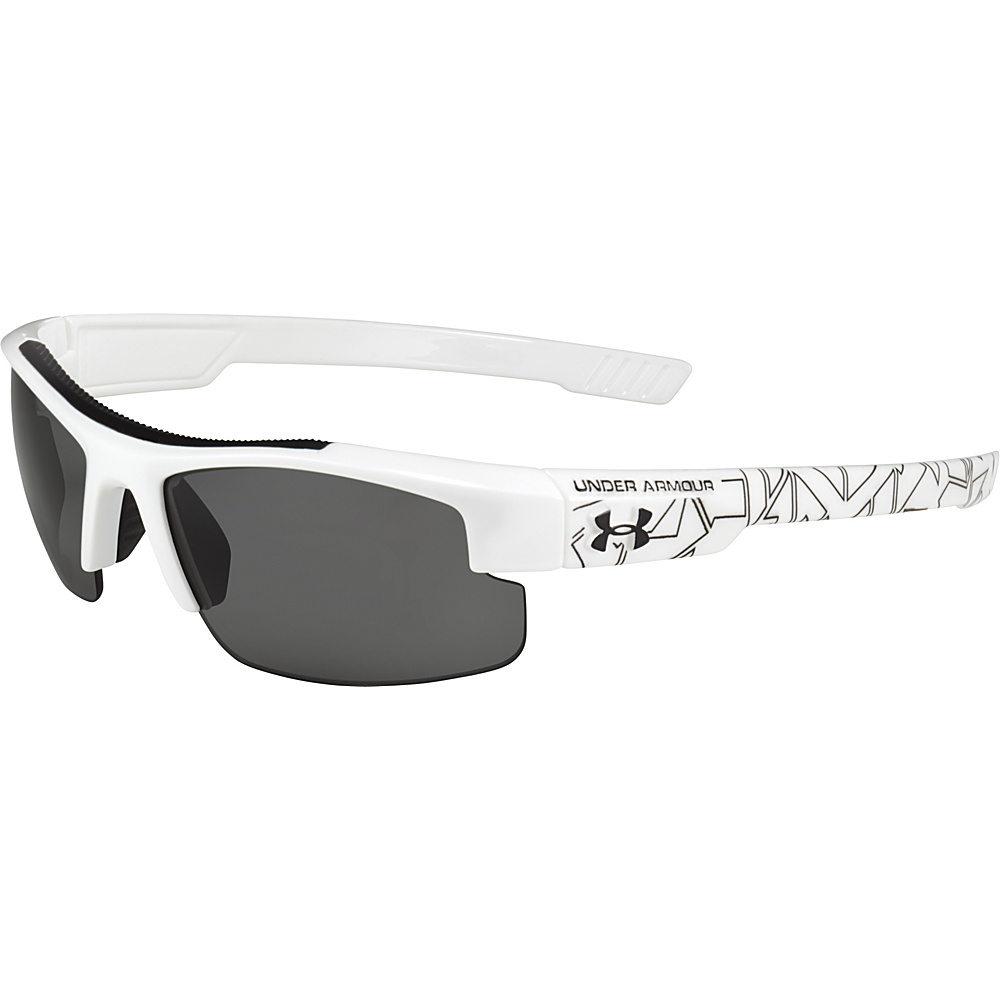 Under Armour Eyewear Youth Nitro L Sunglasses Shiny White Battle Print Exterior Gray Under Armour Eyewear Sunglasses