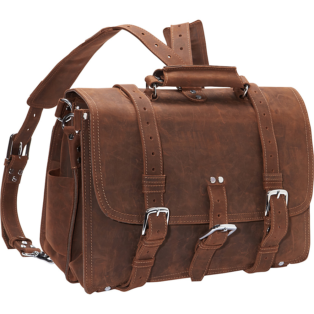 Vagabond Traveler Extra Large Full Leather Briefcase & Backpack Vintage Brown - Vagabond Traveler Non-Wheeled Business Cases - Work Bags & Briefcases, Non-Wheeled Business Cases