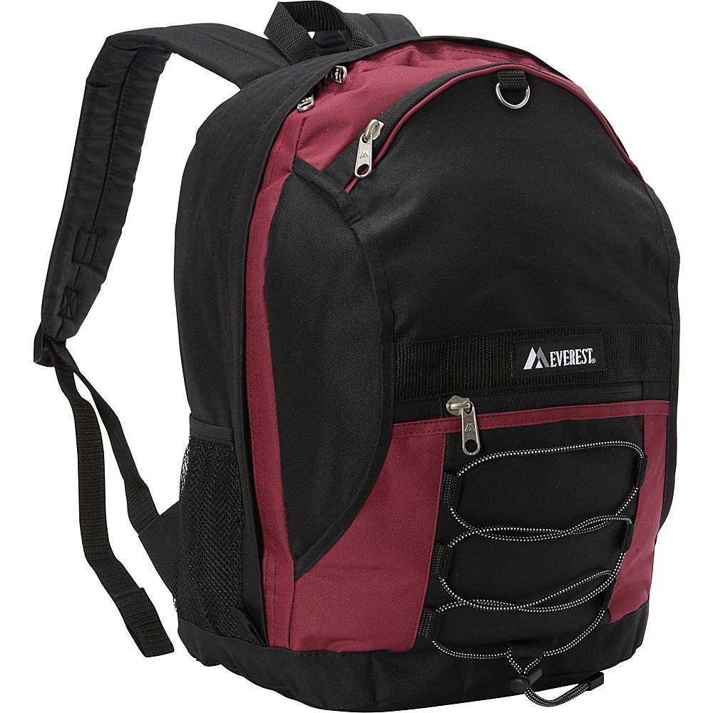 Everest Two Tone Backpack with Mesh Pockets Burgundy/Black - Everest Everyday Backpacks - Backpacks, Everyday Backpacks