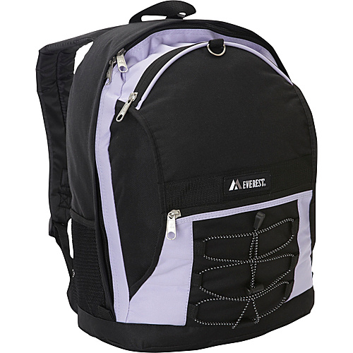 Everest Two Tone Backpack with Mesh Pockets Lavender/Black - Everest School & Day Hiking Backpacks