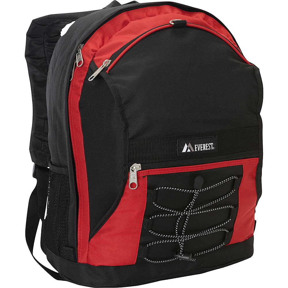 Everest Two Tone Backpack with Mesh Pockets Red/Black - Everest Everyday Backpacks - Backpacks, Everyday Backpacks