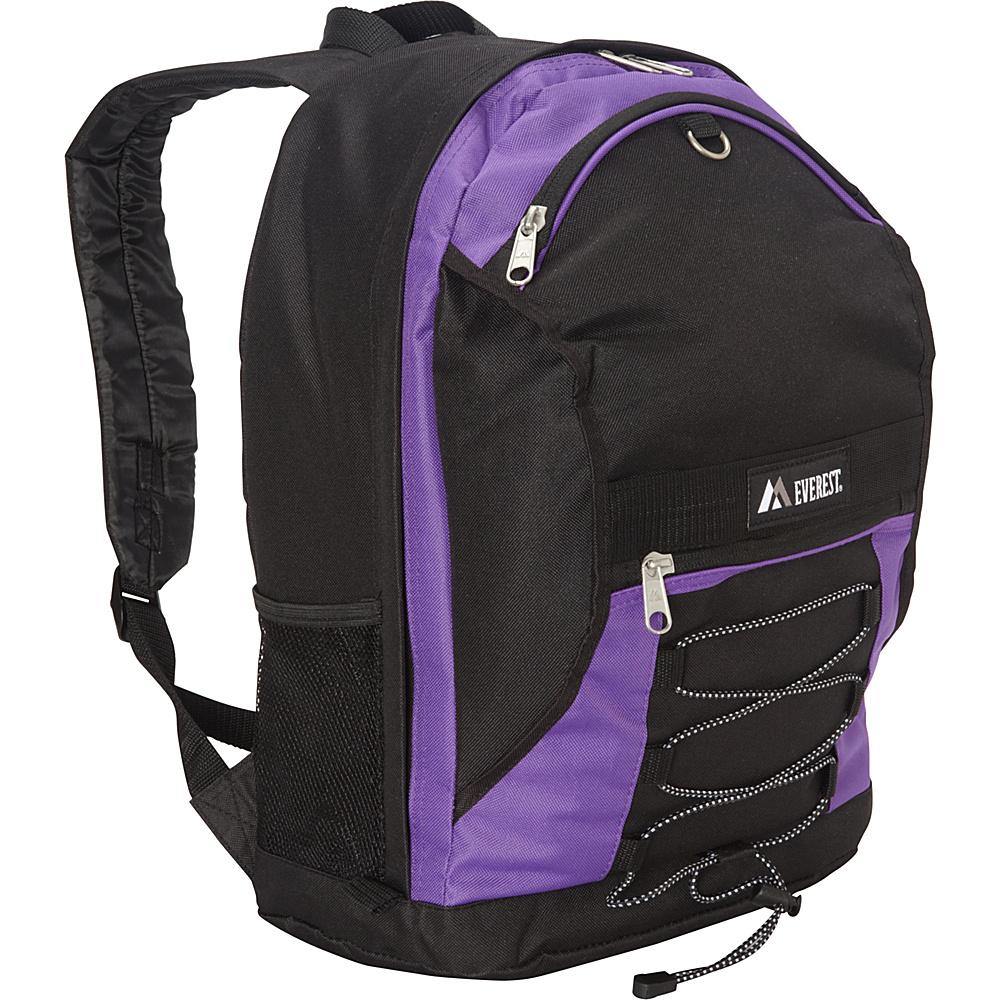 Everest Two Tone Backpack with Mesh Pockets Dark Purple / Black - Everest Everyday Backpacks - Backpacks, Everyday Backpacks