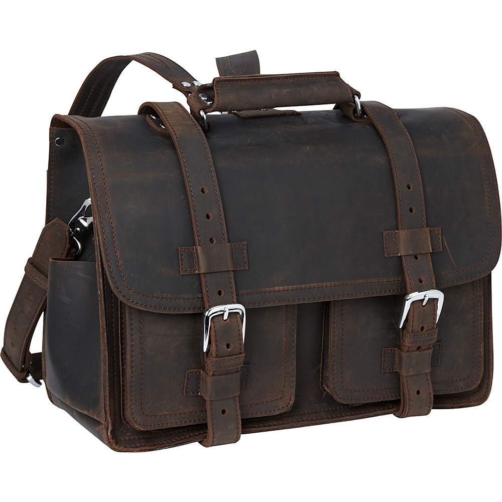Vagabond Traveler Leather Briefcase Travel Bag Dark Brown Vagabond Traveler Non Wheeled Business Cases