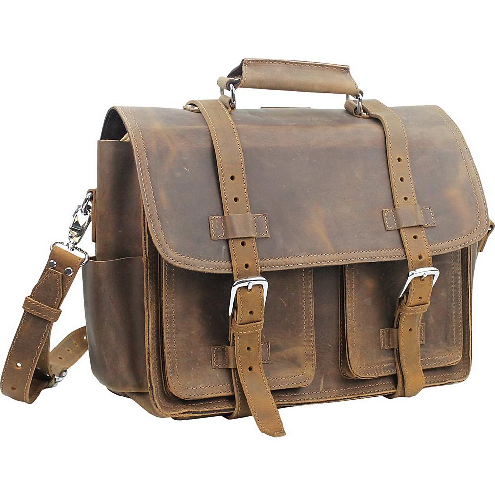 Vagabond Traveler Leather Briefcase Travel Bag Vintage Brown - Vagabond Traveler Non-Wheeled Business Cases - Work Bags & Briefcases, Non-Wheeled Business Cases