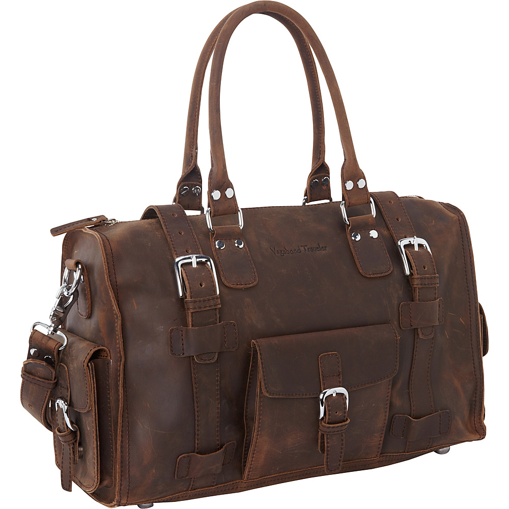 Vagabond Traveler 19 Leather Medium Duffel Vintage Brown - Vagabond Traveler Rolling Duffels - Luggage, Rolling Duffels