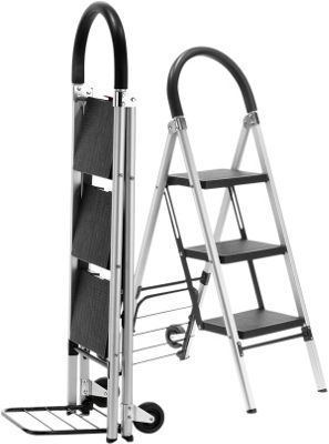 Travel Smart by Conair LadderKart Professional-Grade Step Ladder/Hand Cart Silver/Black - Travel Smart by Conair Luggage Accessories