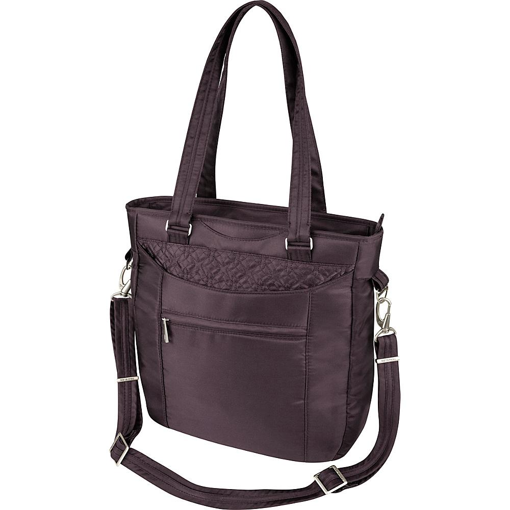 Travelon Anti-Theft Signature Tote Eggplant - Travelon Fabric Handbags