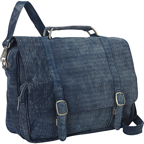 Piel Denim Leather Messenger Bag Denim Blue - Piel Messenger Bags