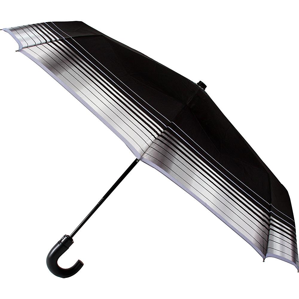 Leighton Umbrellas Kensington black with grey stripes Leighton Umbrellas Umbrellas and Rain Gear