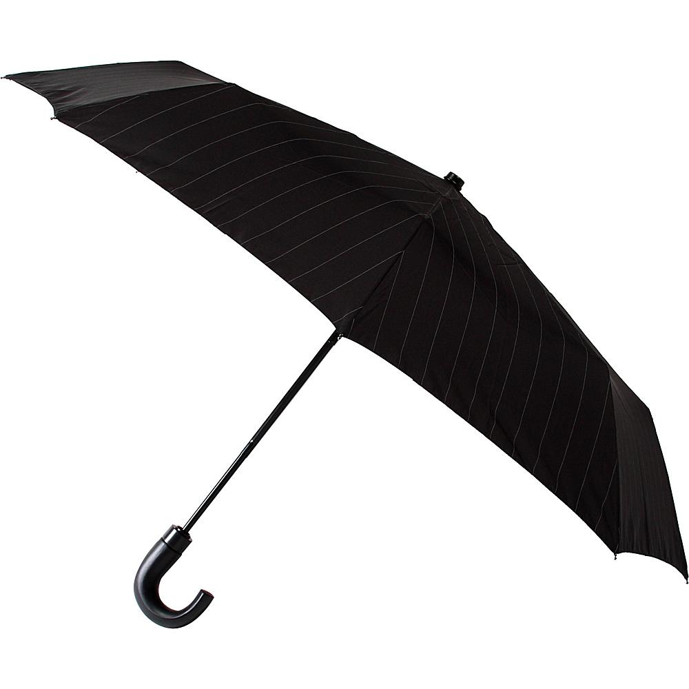 Leighton Umbrellas Kensington black grey pinstripes Leighton Umbrellas Umbrellas and Rain Gear