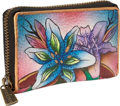 Anuschka Credit and Business Card Holder Luscious Lilies Denim - Anuschka Women's Wallets