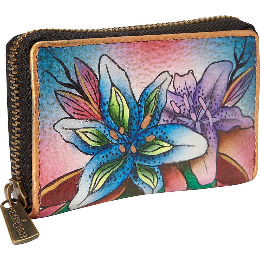 Anuschka Credit and Business Card Holder Luscious Lilies Denim Anuschka Women s Wallets