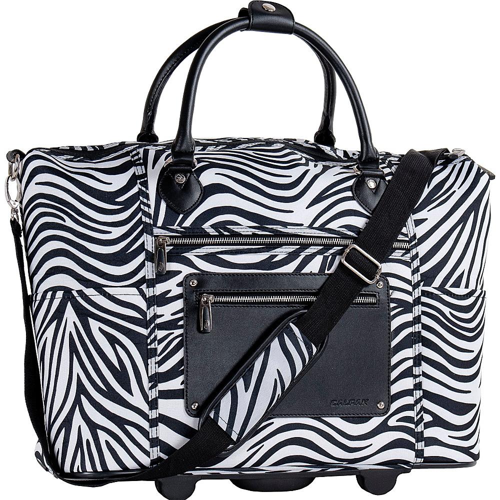 "CALPAK Zanny 21"" Rolling Tote Zebra - CALPAK Softside Carry-On"