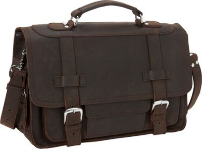 "Vagabond Traveler 17"" Cowhide Leather Travel Overnight Bag Dark Brown - Vagabond Traveler Luggage Totes and Satchels"
