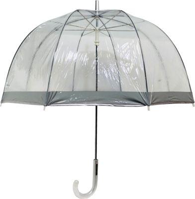 London Fog Umbrellas Clear Umbrella Silver - London Fog Umbrellas Umbrellas and Rain Gear