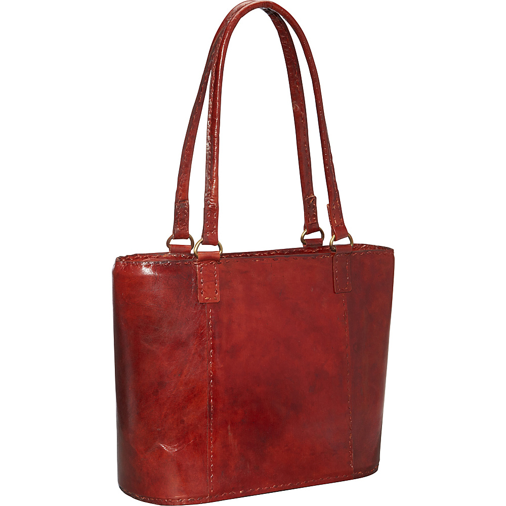 Sharo Leather Bags Women's Large Leather Rustic Tote Burgundy Red - Sharo Leather Bags Leather Handbags