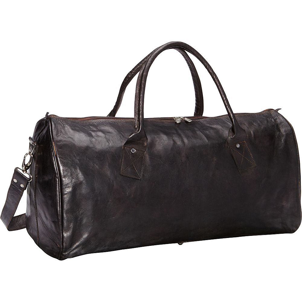 Sharo Leather Bags Black Leather Duffle Carry-on Travel Bag Black - Sharo Leather Bags All Purpose Duffels