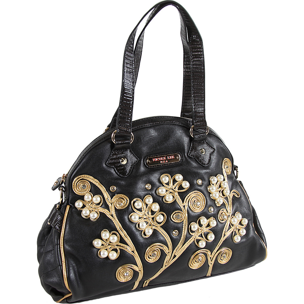 Nicole Lee Tilly Beaded Flowers Satchel Bag Black Nicole Lee Manmade Handbags
