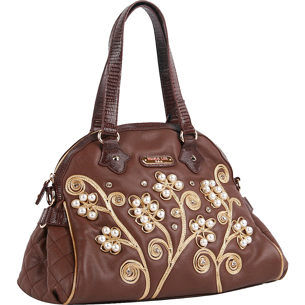 Nicole Lee Tilly Beaded Flowers Satchel Bag Brown Nicole Lee Manmade Handbags