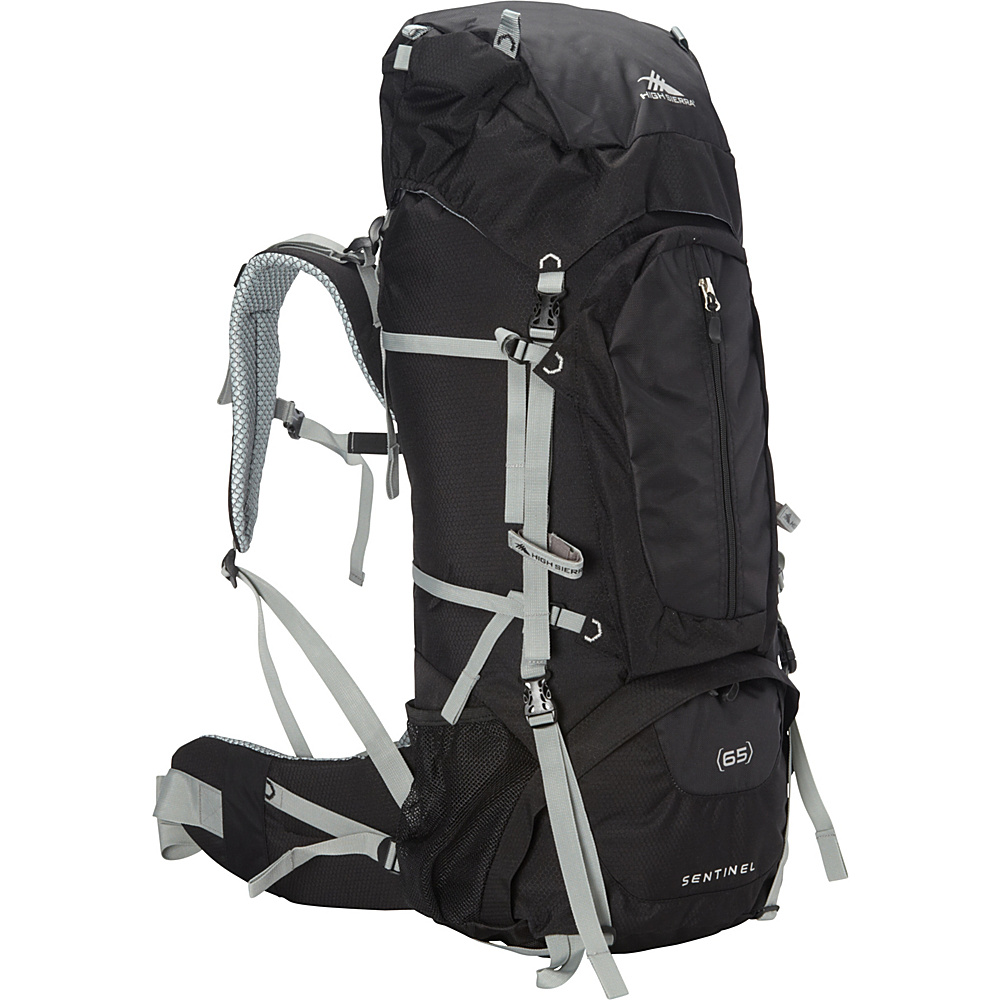 High Sierra Sentinel 65 Backpacking Pack Black Black Silver High Sierra Day Hiking Backpacks