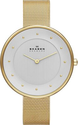 Skagen Klassik Womens Two-Hand Woven Steel Watch Gold - Skagen Watches