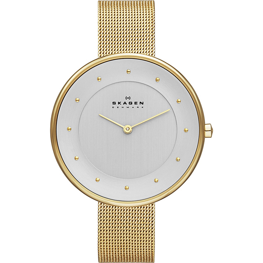 Skagen Klassik Womens Two Hand Woven Steel Watch Gold Skagen Watches